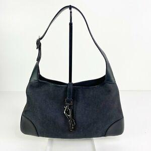 Gucci Jackie denim hobo bag mini Black Leather Y2K 2000s Authentic Clasp Close