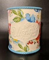 Pioneer Woman Vintage Stoneware Crock Utensil Jar Holder - Melody Floral Pattern