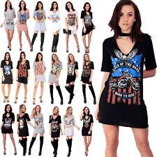 Womens Ladies Rock American Choker Neck Party Mini Tunic Longline T Shirt Dress