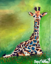 """Giraffe 8""""x10"""" ORIGINAL Oil Painting Signed Art by Artist Home Decor Colorful"""