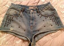 TOPSHOP DENIM SHORTS 10 W28 HIGH WAIST BLUE Faded FESTIVAL Studded HOT PANTS