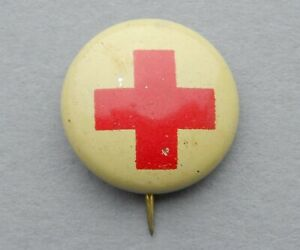 American, Antique Red Cross Brooch. 1940. Badge. Pin