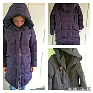 CENTIGRADE - purple padded/puffer/puffa long coat-down & feather filled - XS 6/8