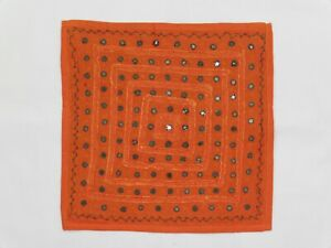 Indian Stonewashed Mirrored Cushion Cover 16 Inch Square Orange