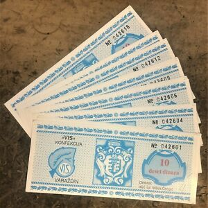 PACK of 100 CROATIA 10 DINARA VARAZDIN CITY SILK INDUSTRY SCRIP UNC LATE 1980's