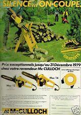 Publicité advertising 1979 Bricolage Outillage Tronconneuses McCulloch