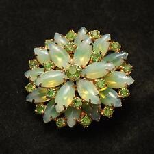 VINTAGE FLORAL Gold Tone Prong Set Green Glass + Crystal Rhinestone Brooch