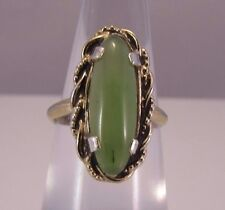 VTG EST CLARK & COOMBS Gold Over Sterling Silver 925 Cabochon Chrysoprase Ring