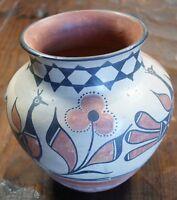 Santo Domingo Indian Pueblo Pottery Circa 1930's Polychrome Decorated Jar