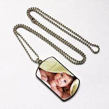 Personalised Metal Photo Dog Tag & Chain, Silver , Print Any Pic, Keepsake Gift