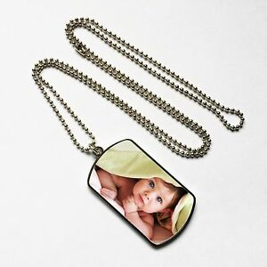 Personalised Metal Photo Dog Tag & Chain, Silver , Print Any Pic, Keepsake Gift