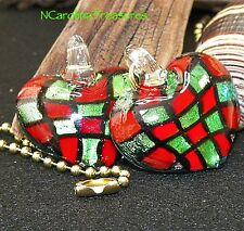 GLASS CEILING FAN LIGHT SWITCH PULL TARTAN CHECKER HEART RED GREEN LARGE PAIR