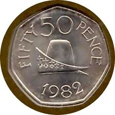 elf Guernsey 50 Pence 1982 Ducal Cap