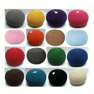Knitted Moroccan 50Cm Large Round Pouffe Footstool Foot Stool Living Room New