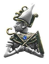 Pendentif Egyptien Osiris En Étain Argenté relevé à l'Or + Chaîne