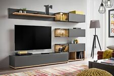 Simi - Anthracite modern entertainment center / living room wall unit