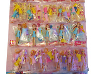 4x Colourful Plastic Mini Dolls with Clothing Stand Party Bag Fillers Kids Toys