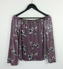 URBAN ROMANTICS // L / NEW Purple Floral Print Velvet Off The Shoulder Top