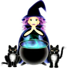 20 WATER SLIDE NAIL ART DECAL HALLOWEEN WITCH WITH  BLACK CATS  5/8 TH INCH