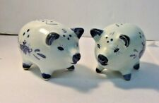 Vintage Delft Blue and White Pig Salt and Pepper Shakers with Windmill Design