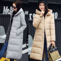 New Womens Long Puffer Jacket Padded Coat Parka Warm Thick Outwear Hooded