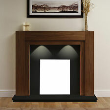 ELECTRIC WALNUT SURROUND BLACK WALL MODERN FIRE FIREPLACE SUITE LIGHTS LARGE 54""