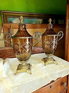 Vintage Ethan Allen Lot of 2 Glass Urns ~ Circa 1970-90's~ W/ Shade~ We  Ship!