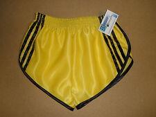 Nailon Satén Sprinter Pantalones Cortos Amarillo con Rayas Negras & Detalle,