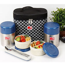 Stainless Steel Thermal Bento Box Sealed Lunch Box set Insulated Bag 450ml+450ml
