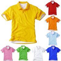 Kids Polo Collar Children Child Boys Girls Junior Top School Tee T-Shirt clothes