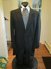 MENS VINTAGE VICTORIAN BLACK CUTAWAY TUXEDO VEST & ASCOT INCLUDED SIZE 38R
