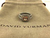 David Yurman Petite Albion Ring With Morganite and Diamonds Size 6