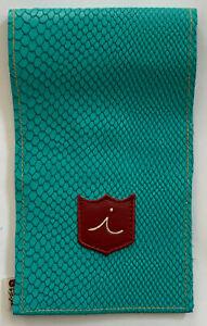 iliac Golf Yardage Book Scorecard Cover Teal Blue Leather BOA Type USA Made New