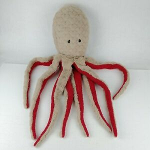 "Dan Dee Grey/Tan & Red Octopus/Squid Plush 28"" Very Soft Collectors Choice HTF"