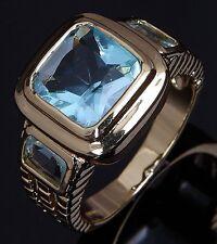 Fashion Size 11 Fantastic Aquamarine 14K Gold Filled Engagement Rings For Mans