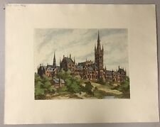 """19""""x15"""" VINTAGE HAND COLOR ENGLISH LITHOGRAPH, GOTHIC ARCHITECTURE HEAVY PAPER"""