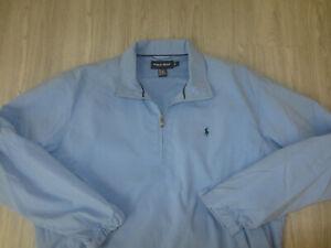 Polo Ralph Lauren Baby Blue Golf Jacket Coat Windbreaker Pullover 1/4 Zip L Lg