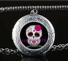 Sugar Skull Owl Cabochon Glass Tibet Silver Chain Locket Pendant Necklace