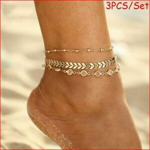 Women Gold Silver Ankle Bracelet Anklet Adjustable Chain Foot Beach Jewelry Gift