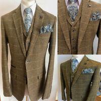 Men's Brown Herringbone Check 3 Pieces Suits Groom Wedding Business Formal Suits