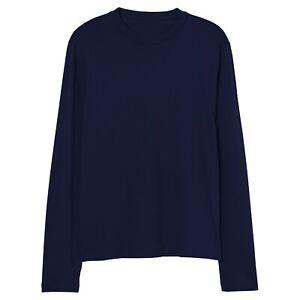 Mens Long Sleeve T-Shirt 100% Cotton Plain Crew Round Neck Casual Tee Tops S-3XL