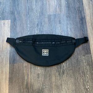 CHANEL SPORT Vintage Black Nylon XL Fanny Pack Banana Bag Logo Embroidered Strap