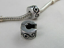 ANTIQUE SILVER PLATED DESIGN STOPPER BEAD EURO STYLE CHARM BRACELETS (SB 016)