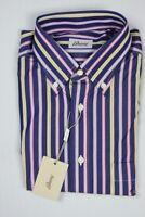 Brioni Mens Navy Multi Stripe Cotton Slim Dress Shirt III M New BNBRO