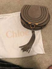 Brand New Chloe Mini Marcie Braided Suede Crossbody Shoulder Bag Motty Gray NWT