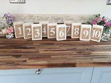 Rustic Vintage Style Wooden /Hessian Wedding Table Numbers 1-10