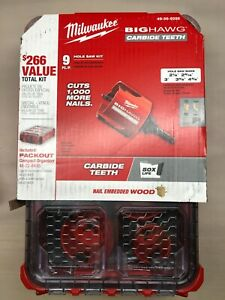 Milwaukee 49-56-9295 Packout Big Hawg 9 pc Carbide Hole Saw Kit NEW