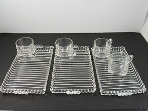 3 Hazel Atlas CANDLEWICK BOOPIE Glass Luncheon Smoke Sip Trays with 4 cups