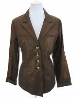 Coldwater Creek Shaped Fit Metallic Brown Embroidered Blazer Jacket Womens Sz 16