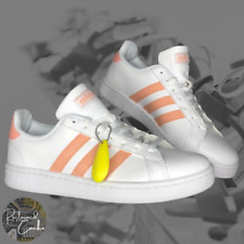 New listing Adidas Womens White Pink Grand Court Lace Up Shoes Tennis Sneakers Size 8.5